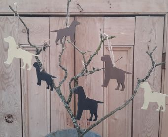 Collection of Handpainted Wooden Hanging Dogs