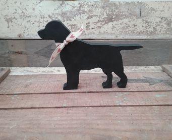 Black Labrador with Hearts Ribbon
