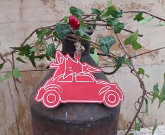 Hanging Christmas Car With Tree Decoration