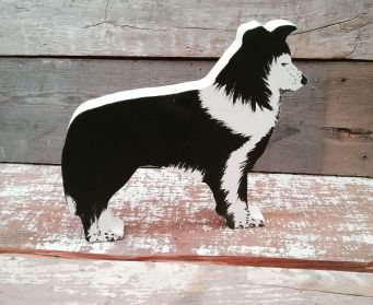 Hand Painted Wooden Collie Ornament