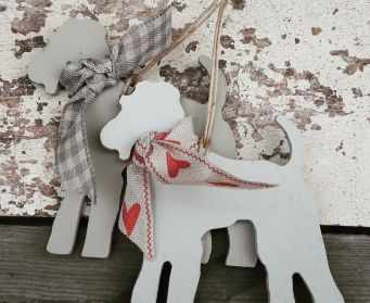 Painted Hanging Terriers With Ribbons... For and B Light Gray and Purbeck Stone