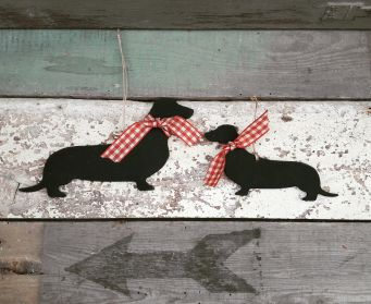 Small and Large Black Hanging Dachshund Decorations Painted With Pitch Black