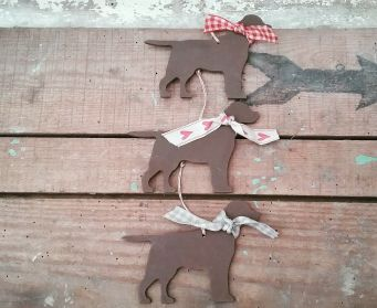 A Trio Of Small Painted Hanging Labrador Decorations