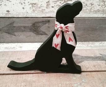 Black Labrador With Hearts Bow 15cm