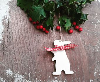 Handpainted Wooden Paws Up Bunny Hanging Christmas Decoration