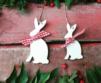 Christmas Painted Wooden Hanging Hare Decorations