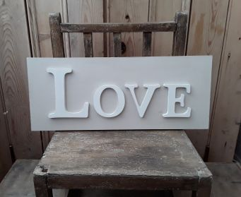 LOVE Wordboard Hessian and White