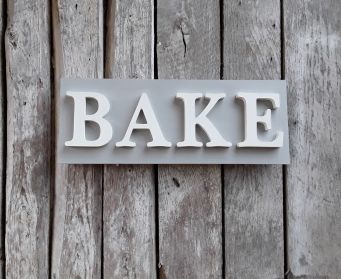 Painted Wooden BAKE Sign Paris Grey