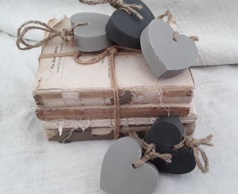 Painted Wooden Heart French Linen and Graphite
