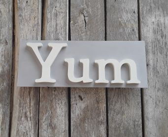Handpainted Wooden Yum Sign Chicago Grey