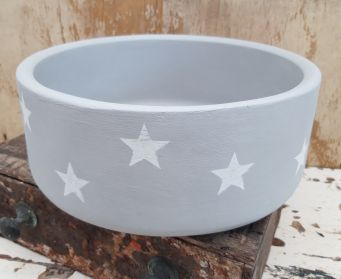 Grey Bowl With White Star Stencils