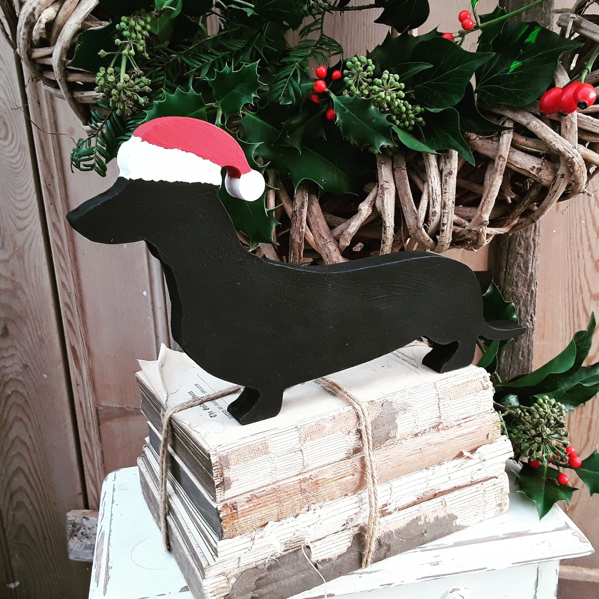 hand painted wooden dachshund christmas decoration
