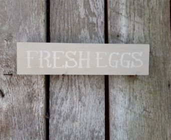 FRESH EGGS Long Sign Country Grey & Old White Clean Finish