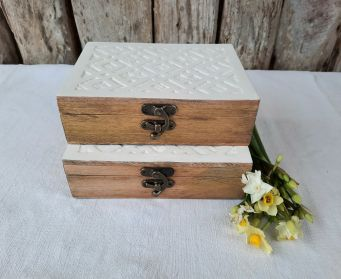 Wooden Box With White Lattice Lid