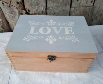 Wooden Box With Painted Grey Lid