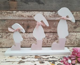 Painted Wooden Bunny Trio