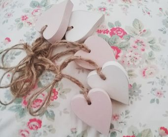 Wooden Hanging Hearts Painted with Old White and Antoinette Pink Clear Wax