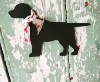 Large Hanging Labrador Painted With Farrow and Ball Pitch Black
