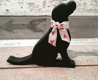 Black Labrador With Hearts Bow 15cm
