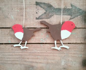 Handpainted Wooden Robins