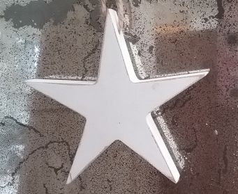 A Small Wooden Star Painted With Annie Sloan Old White