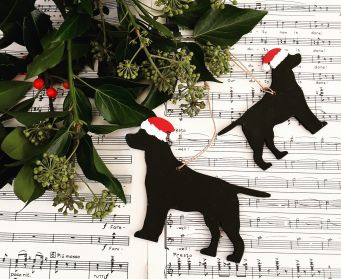 Small and Large Painted Black Wooden Standing Labrador Hanging Decorations