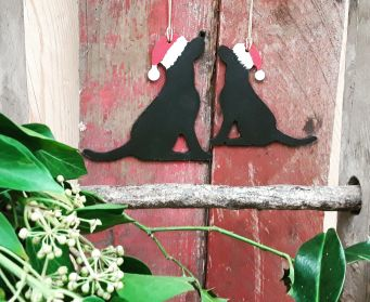 Small and Large Wooden Painted Black Labrador Hanging Decorations