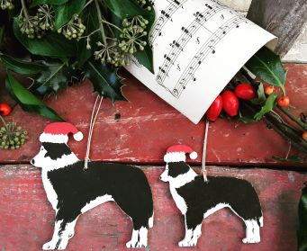 Small and Large Hanging Wooden Collie Christmas Decorations
