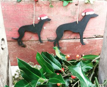 Small and Large Black Wooden Whippet Decorations