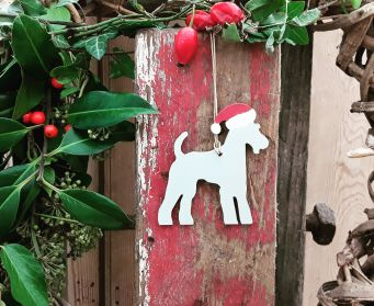 Hanging Painted Terrier Christmas Decoration Painted With Purbeck Stone