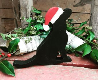 Sitting Black Wooden Labrador Christmas Decoration
