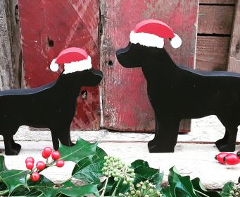 Small and Large Black Painted Wooden Labrador Christmas Decoration