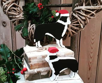 Small and Large Painted Collie Decorations
