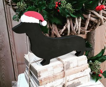 Large Black Wooden Painted Dachshund Christmas Decoration