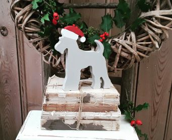 Small and Large Terrier Christmas Ornaments Painted With Farrow and Ball Stony Ground