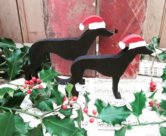 Small and Large Greyhound Christmas Decorations Painted With Farrow and Ball Pitch Black