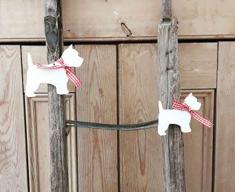 Hanging Wooden Scottie Dog Decoration