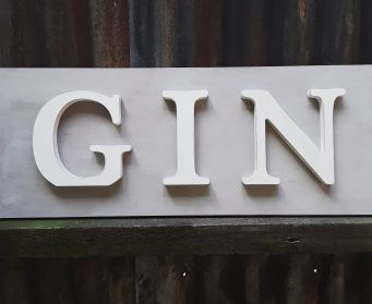 Painted Wooden GIN Sign