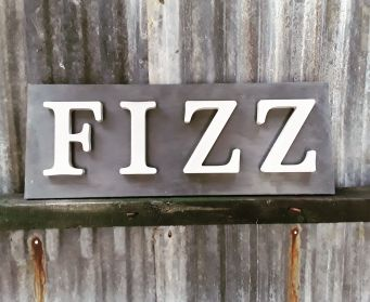 Black And Grey Painted Wooden FIZZ Wordboard