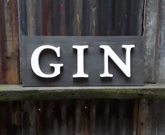 Black And Grey Painted Wooden  GIN Wordboard
