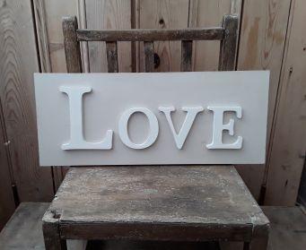 LOVE Wordboard Hessian and White