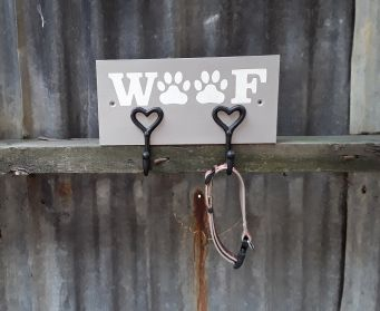 Handpainted Wooden WOOF Dog Lead Hooks French Linen