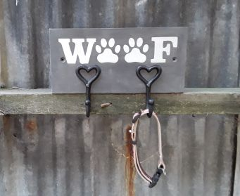 Handpainted Wooden WOOF Dog Lead Hooks Graphite
