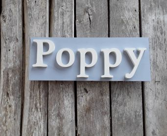 Painted Wooden Poppy Sign  Louis Blue and White