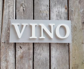 Handpainted Wooden VINO Sign Paris Grey and White
