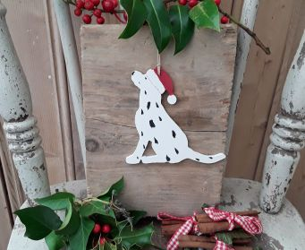 Handpainted Wooden Dalmatian With Christmas Hat