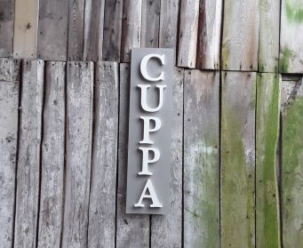 Painted Wooden CUPPA Sign French Linen and Old White
