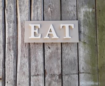 EAT Sign Country Grey and Original