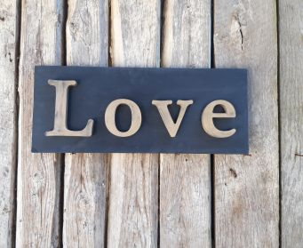 Painted Wooden Love Sign Oxford Navy and Antique Gold