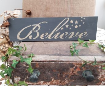 Believe Sign Graphite and Antique Gold